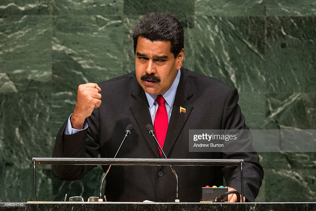 Venezuelan President <a gi-track='captionPersonalityLinkClicked' href=/galleries/search?phrase=Nicolas+Maduro&family=editorial&specificpeople=767093 ng-click='$event.stopPropagation()'>Nicolas Maduro</a> Moros speaks at the 69th United Nations General Assembly on September 24, 2014 in New York City. The annual event brings political leaders from around the globe together to report on issues meet and look for solutions.