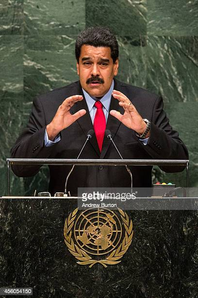 Venezuelan President Nicolas Maduro Moros speaks at the 69th United Nations General Assembly on September 24 2014 in New York City The annual event...