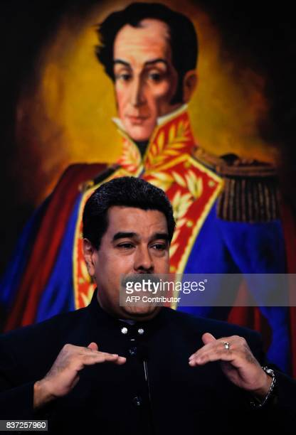 Venezuelan President Nicolas Maduro offers a press conference at the Miraflores presidential palace in Caracas on August 22 2017 The Venezuelan...