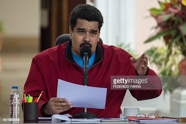 Venezuelan President Nicolas Maduro speaks at Miraflores Palace in Caracas on January 17 2015 Maduro is back from a tour in search of financial aid...