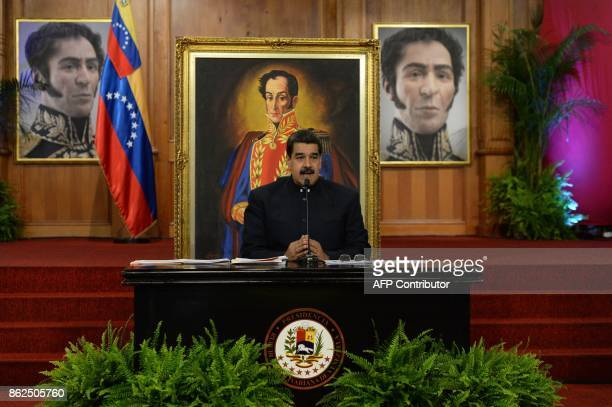 Venezuelan President Nicolas Maduro speaks during a press conference with international media correspondents at the Miraflores Presidential Palace in...