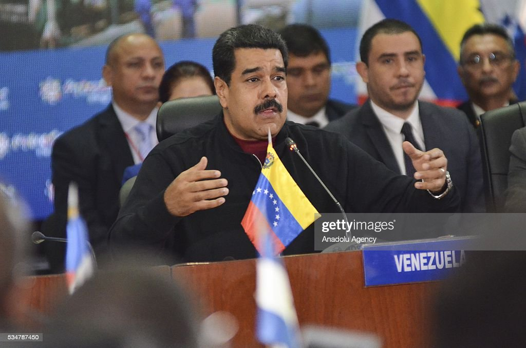 Venezuelan President Nicolas Maduro speaks during the 16th Ministerial Council meeting of Petrocaribe in PDVSA in Caracas, Venezuela on May 27, 2016.