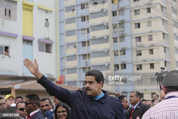 Venezuelan President Nicolas Maduro waves to people during a visit at El Chorrillo neighborhood in Panama City on April 10 2015 Regional leaders...