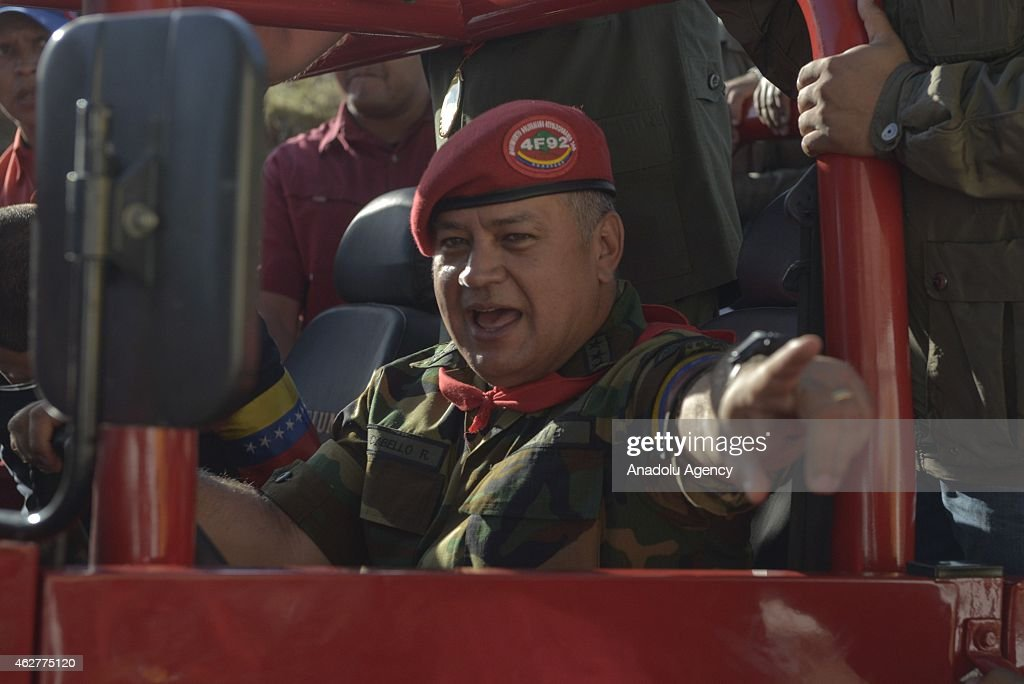 Venezuelan president of the National Assembly, <a gi-track='captionPersonalityLinkClicked' href=/galleries/search?phrase=Diosdado+Cabello&family=editorial&specificpeople=3799005 ng-click='$event.stopPropagation()'>Diosdado Cabello</a> drives a vehicle during a military parade for the 23rd anniversary of attempted coup of Hugo Chavez against Carlos Andres Perez government on 1992, in Caracas, Venezuela on February 04, 2015.