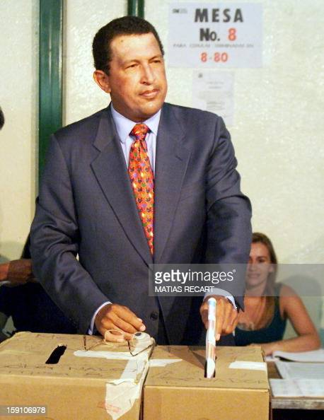 Venezuelan presidential candidate Hugo Chavez votes 08 November in CaracasVenezulean go to the polls in key legislative and state elections in a vote...