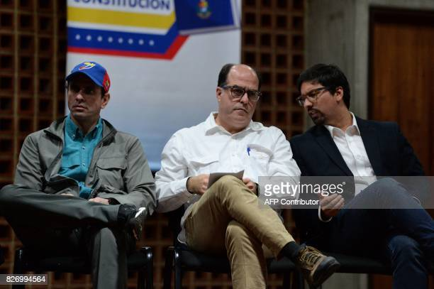 Venezuelan senior opposition leader Henrique Capriles the leader of the oppositioncontrolled legislature Julio Borges and the legislature's first...