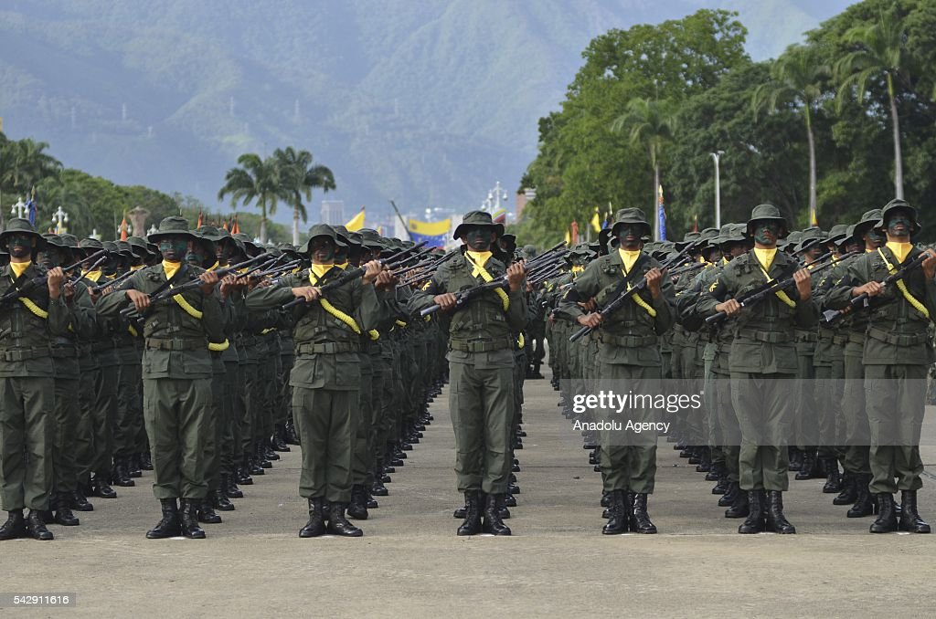 Venezuelan soldiers stand in formation as they pay tribute to Venezuelan hero Pedro Camejo known as Negro Primero or 'The First Black' who was killed in the battle of Carabobo at 1821, in Caracas, Venezuela on June 24, 2016.