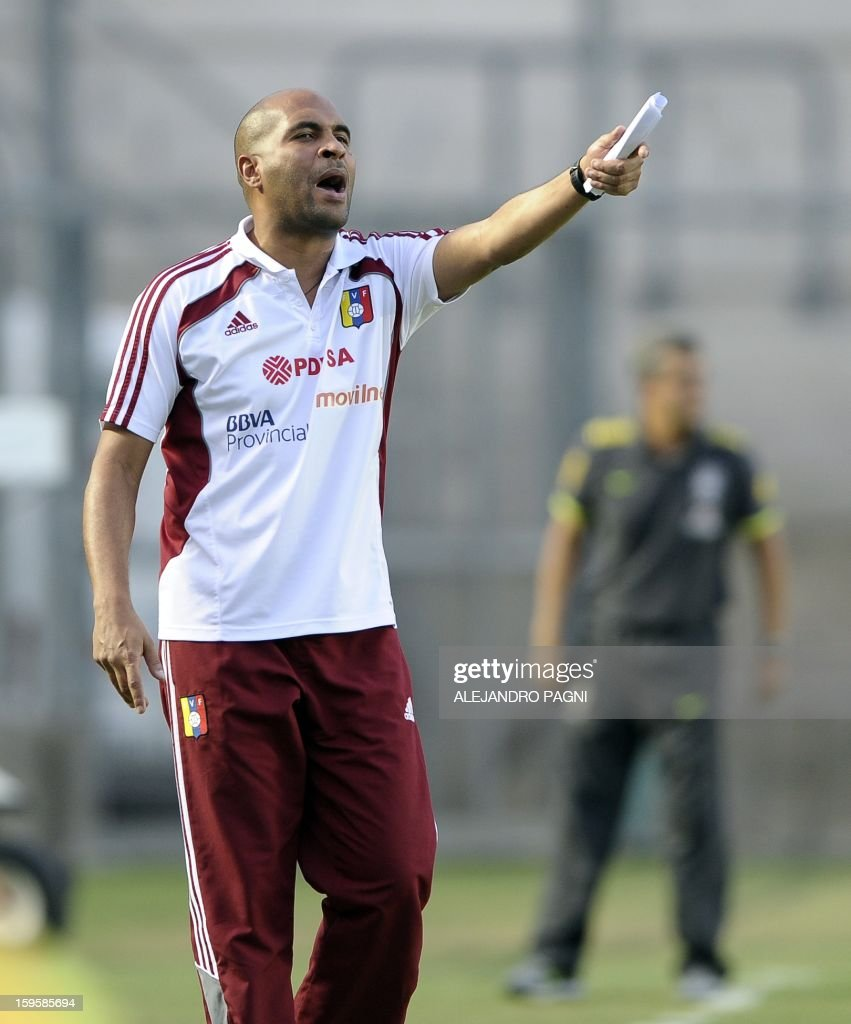 Venezuelan team coach Marcos Mathias gestures during their South American U-20 Championship Group B qualifier football match against Brazil, at the Bicentenario stadium in San Juan, Argentina, on January 16, 2013. Four South American teams will qualify for the FIFA U-20 World Cup Turkey 2013.