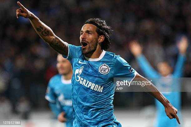 Venezuelanborn Portuguese Danny of FC Zenit celebrates his goal during their UEFA Champions League Group G football match FC Zenit vs FC Porto in St...