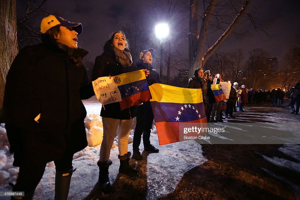 Venezuelans and supporters protest on Boston Common after the government's violent crackdown on dissidents.