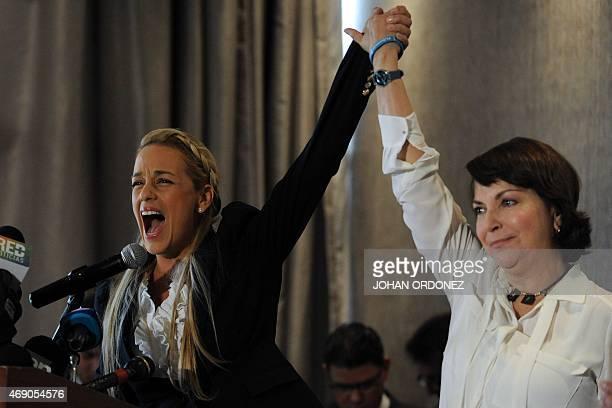 Venezuelans Lilian Tintori and Mitzy Capriles wives of Venezuela's President Nicolas Maduro opposers Leopoldo Lopez and Antonio Ledezma respectively...