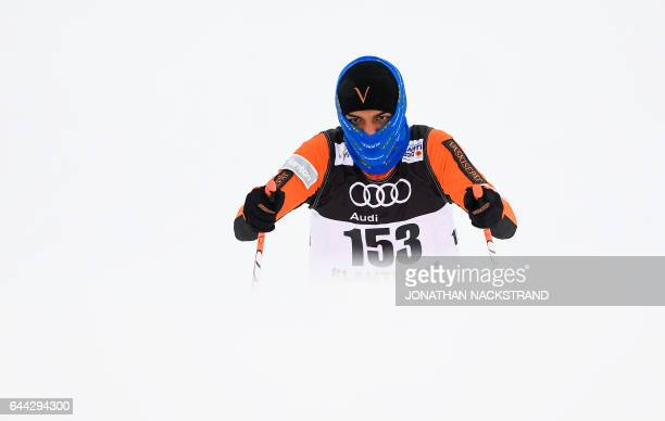 TOPSHOT Venezuela's Adrian Solano competes during the Men 16 km Sprint Free qualification at the FIS Nordic Ski World Championship in Lahti on...