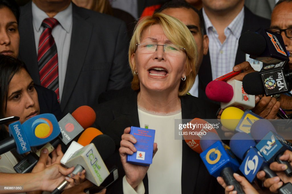 Venezuela's Attorney General Luisa Ortega Diaz speaks to the media during a press conference, outside the Supreme Court of Justice building in Caracas on June 8, 2017. Ortega Diaz started a nullity appeal against Venezuelan President Nicolas Maduro's referendum on contested constitutional reforms. /