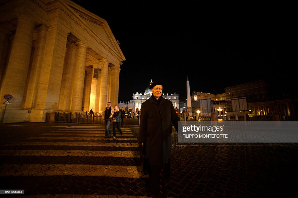 Venezuela's cardinal Jorge Urosa Savino walks after a meeting of a conclave to elect a new pope on March 4, 2013 at the Vatican. The Vatican meetings will set the date for the start of the conclave this month and help identify candidates among the cardinals to be the next leader of the world's 1.2 billion Catholics. AFP PHOTO/ Filippo MONTEFORTE
