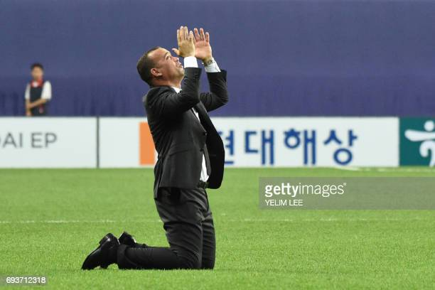 Venezuela's coach Rafael Dudamel celebrate their victory during the U20 World Cup semifinal football match between Uruguay and Venezuela in Daejeon...