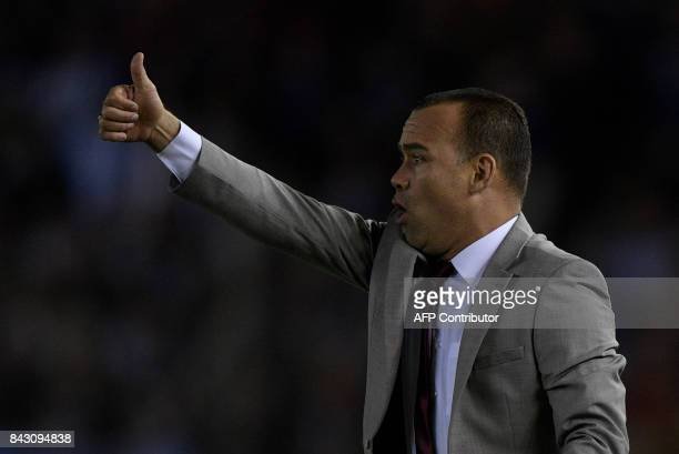Venezuela's coach Rafael Dudamel gives instructions during the 2018 World Cup football qualifier match against Argentina in Buenos Aires on September...
