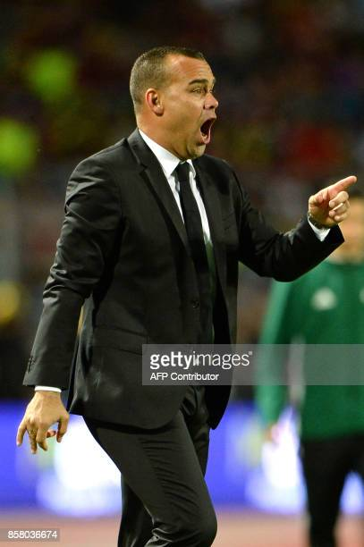 Venezuela's coach Rafael Dudamel gives instructions during the 2018 World Cup qualifier football match against Uruguay in San Cristobal Venezuela on...