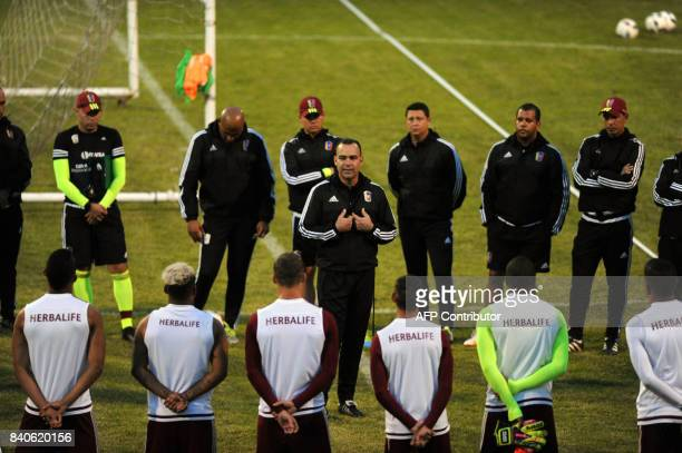 Venezuela's coach Rafael Dudamel leads a training session in San Cristobal on August 27 2017 ahead of their FIFA World Cup Russia 2018 South American...