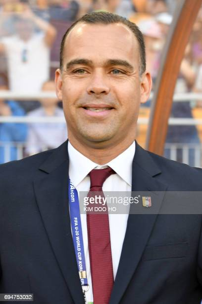 Venezuela's coach Rafael Dudamel smiles during the U20 World Cup final football match between England and Venezuela in Suwon on June 11 2017 / AFP...