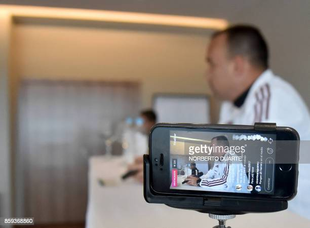 Venezuela's coach Rafael Dudamel speaks during a press conference in Luque on October 9 ahead of their 2018 FIFA World Cup South American qualifier...