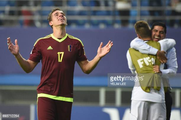 Venezuela's defender Josua Mejias celebrate their victory during the U20 World Cup semifinal football match between Uruguay and Venezuela in Daejeon...