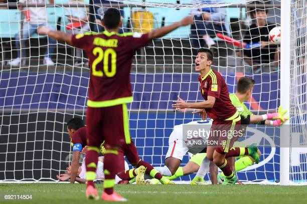 Venezuela's defender Nahuel Ferraresi reacts after scoring during their U20 World Cup quarterfinal football match between Venezuela and the US in...