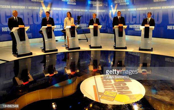 Venezuela's Democratic Unity coalition presidential candidates participate in their second debate on December 04 2011 in Caracas From left are Pablo...