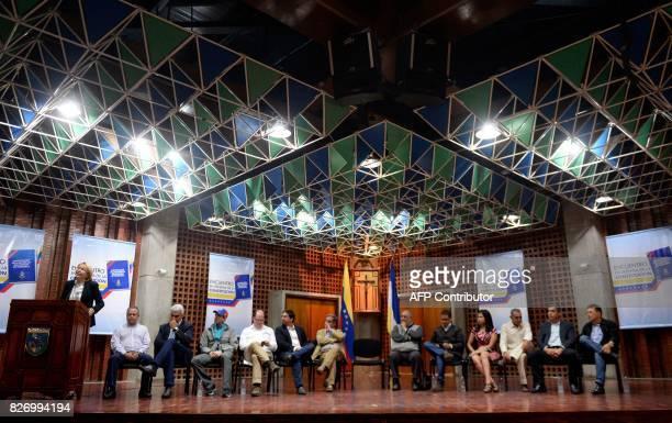 Venezuela's dismissed chief prosecutor Luisa Ortega one of President Nicolas Maduro's most vocal critics speaks during the 'In Defence of Democracy...