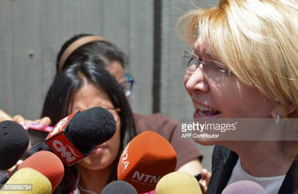 Venezuela's dismissed chief prosecutor Luisa Ortega one of President Nicolas Maduro's most vocal critics speaks to the press after the 'In Defence of...