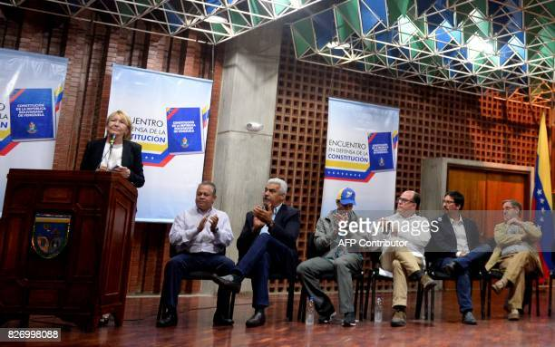 Venezuela's dismissed chief prosecutor Luisa Ortega one of President Nicolas Maduro's most vocal critics finishes her speech during the 'In Defence...