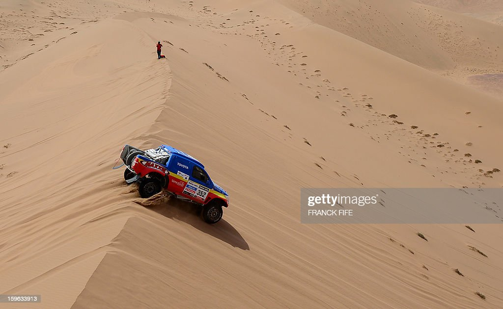 Venezuela's driver Nunzio Coffaro on Toyota compete during the Stage 12 of the 2013 Dakar Rally between Fiambala in Argentina and Copiapo in Chile, on January 17, 2013. The rally is taking place in Peru, Argentina and Chile from January 5 to 20.