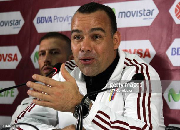 Venezuela's football coach Rafael Dudamel talks during a press conference in San Cristobal on August 30 the day before their FIFA World Cup Russia...