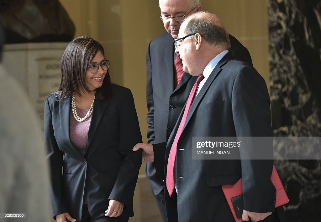 Venezuela's Foreign Minister Delcy Rodr��guez arrives at the Organization of American States in Washington, DC on May 5, 2016. / AFP / MANDEL