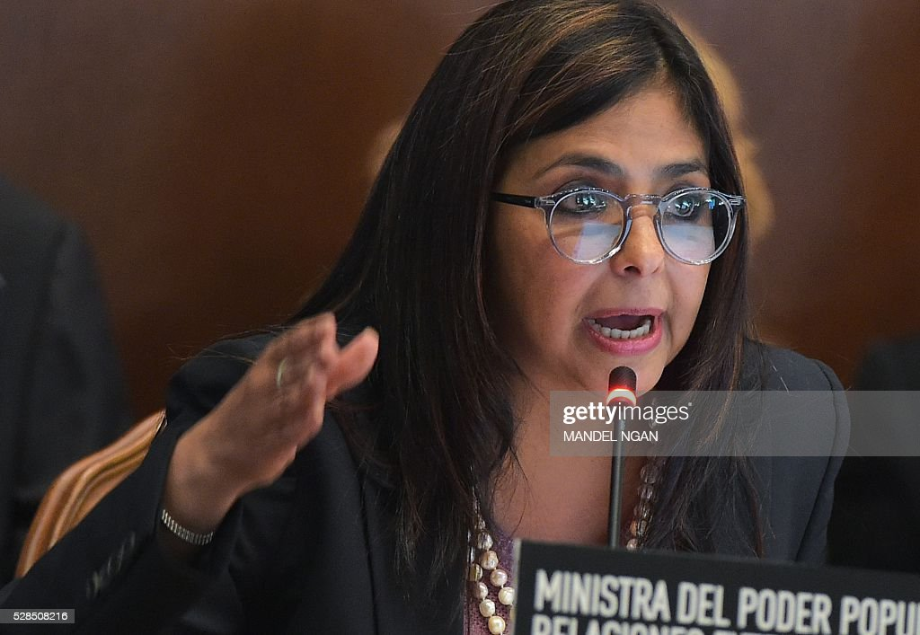 Venezuela's Foreign Minister Delcy Rodr��guez speaks at the Organization of American States in Washington, DC on May 5, 2016. / AFP / MANDEL