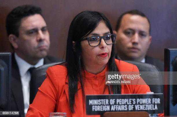Venezuela's Foreign Minister Delcy Rodríguez speaks during an address to the Organization of American States on March 27 2017 in Washington DC / AFP...