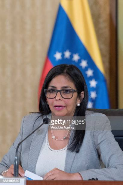Venezuela's Foreign Minister Delcy Rodriguez adresses to media during a press conference in Caracas Venezuela on February 15 2017 The Minister...