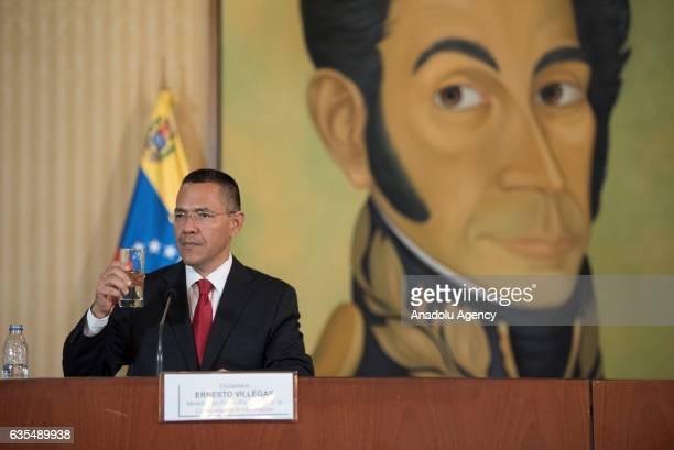 Venezuela's Foreign Minister Delcy Rodriguez and Minister of Communications and Information Ernesto Villegas Rodriguez attend a press conference in...