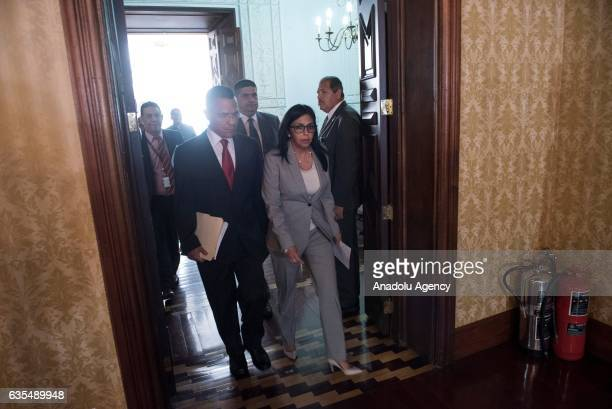 Venezuela's Foreign Minister Delcy Rodriguez and Minister of Communications and Information Ernesto Villegas Rodriguez arrive for a press conference...