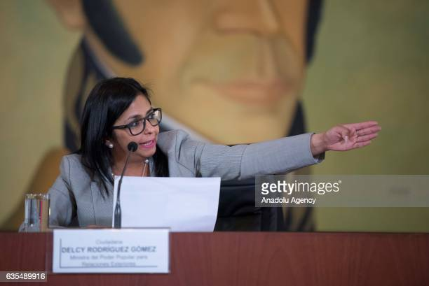 Venezuela's Foreign Minister Delcy Rodriguez gestures as she speaks during a press conference in Caracas Venezuela on February 15 2017 The Minister...