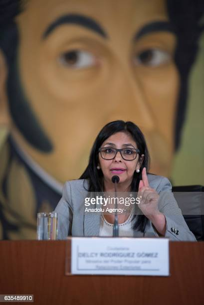 Venezuela's Foreign Minister Delcy Rodriguez gestures as she speaks in front of Liberator Simon Bolivar's portrait during a press conference in...