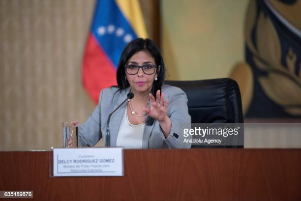 Venezuela's Foreign Minister Delcy Rodriguez gestures during a press conference in Caracas Venezuela on February 15 2017 The Minister denounced that...