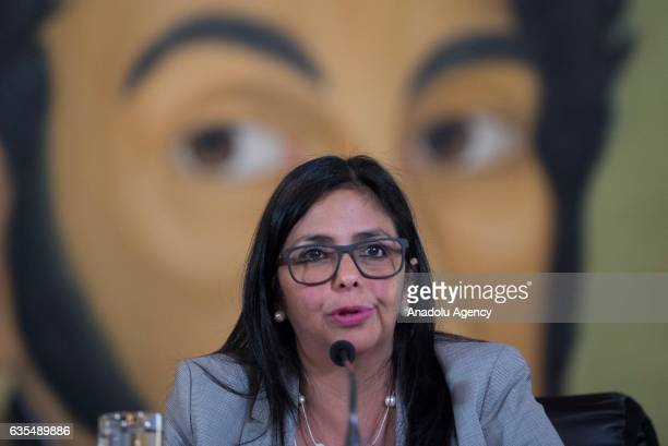 Venezuela's Foreign Minister Delcy Rodriguez speaks during a press conference in Caracas Venezuela on February 15 2017 The Minister denounced that...