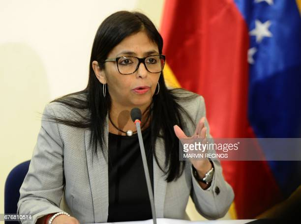 Venezuela's Foreign Minister Delcy Rodriguez speaks during a press conference after an extraordinary meeting of the Community of Latin American and...