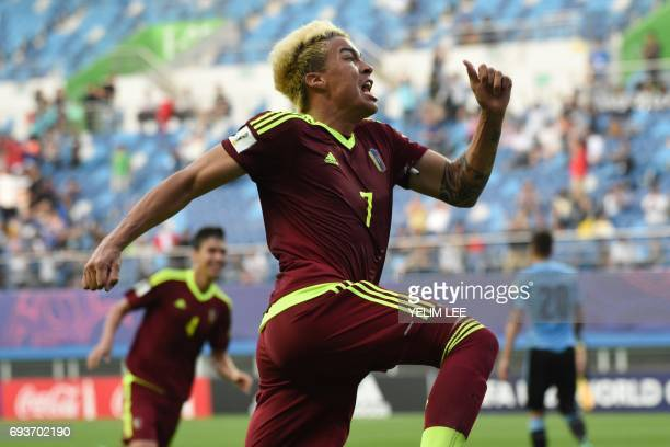 Venezuela's forward Adalberto Penaranda Maestre celebrates a goal during the U20 World Cup semifinal football match between Uruguay and Venezuela in...