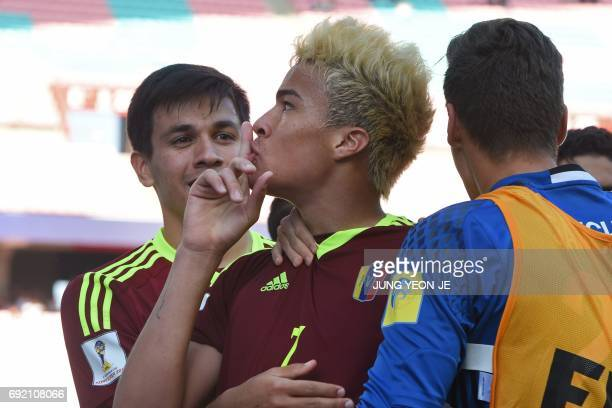 Venezuela's forward Adalberto Penaranda Maestre reacts after scoring during their U20 World Cup quarterfinal football match between Venezuela and the...