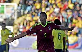 Venezuela's forward Jose Rondon celebrates after scoring against Colombia during their 2015 Copa America football championship match in Rancagua...