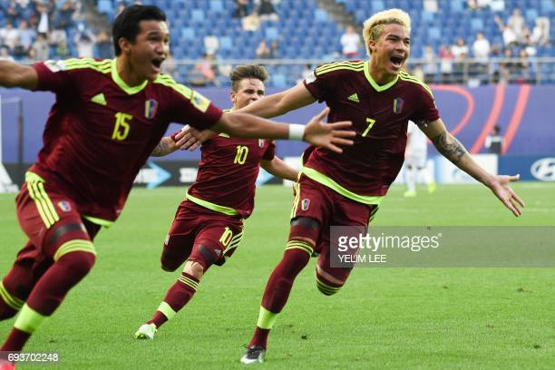 Venezuela's forward Samuel Sosa midfielder Yeferson Soteldo and forward Adalberto Penaranda Maestre celebrate a goal during the U20 World Cup...