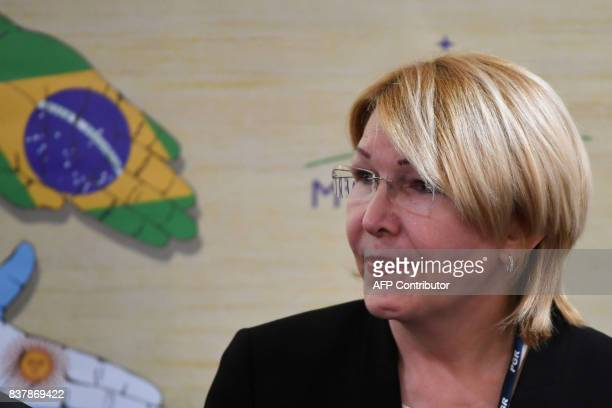 Venezuela's fugitive former top prosecutor Luisa Ortega one of President Nicolas Maduro's most vocal critics attends invited by Brazil's prosecutor...