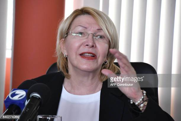 Venezuela's fugitive former top prosecutor Luisa Ortega speaks during a press conference at the General Prosecutor's office in San Jose on August 28...