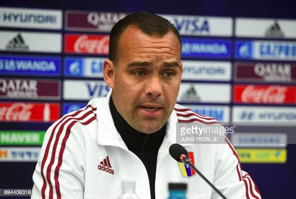 Venezuela's head coach Rafael Dudamel speaks during a press conference ahead of the U20 World Cup final football match between Venezuela and England...